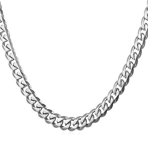 U7 6mm Panzerkette für Männer Herren Edelstahl Halskette Gliederkette Silber Ton Hiphop Biker Rocker Kette (Länge 55cm)