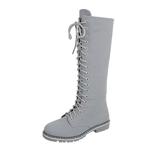 Schnürstiefel Damen-Schuhe Klassischer Stiefel Blockabsatz Schnürer Reißverschluss Ital-Design Stiefel Hellgrau, Gr 37, Nc82-