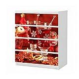 Set Möbelaufkleber für Ikea Kommode MALM 4 Fächer/Schubladen Weihnachten Tee Tisch Küche rot Aufkleber Möbelfolie sticker (Ohne Möbel) Folie 25B417