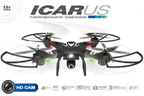 Maximum RC - Drohne mit Kamera und Höhensensor - Quadrocopter mit 4 Geschwindigkeiten, Headless-Mode und Top Ausstattung - Drohne - Drone - Quadcopter - Icarus