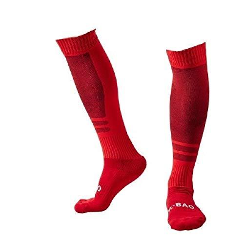 WADUANRUN Erwachsene Baumwolle Lang Fußball Socken für Männer und Frauen Herren Fußball Socken Sportsocken Team Wettkampftrainingssocken Rot