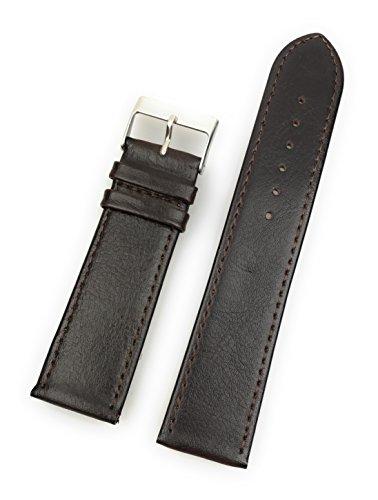 Uhrenarmband aus echtem Leder 22 mm Braun Glatt - 22mm Uhren Armband