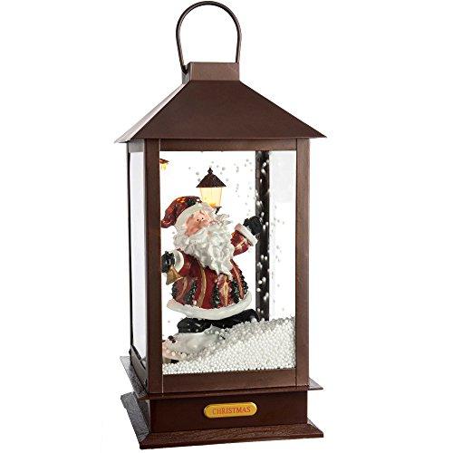 WeRChristmas LED schneit Musikalische Santa Laterne Weihnachten Dekoration, Mehrfarbig, 38cm