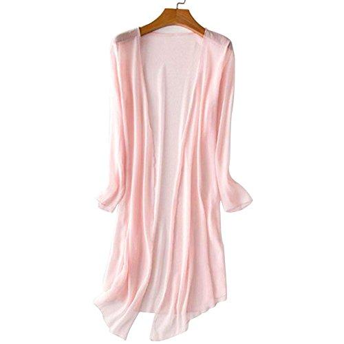 Vin beauty Sommer Damen Damen lösen Lange Ärmel Chiffon Mesh Weiche Tops Bluse Mantel öffnen Kaftan Kimono Strickjacke (Wolle Strickjacke Rosa)