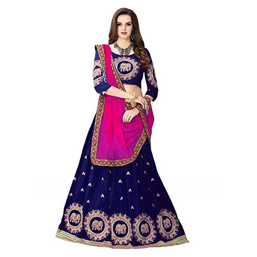 Varudi Fashion Women\'s Benglory Satin Silk lehenga choli (Free Size) (Blue)