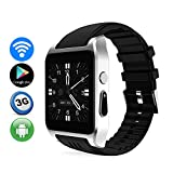 Tlgf Smart Watch Heart Rate Monitor Bluetooth Headset Call WiFi Zwei-Wege-Positionierung, HD-Kamera, Support SIM Card, Android-System,Gray