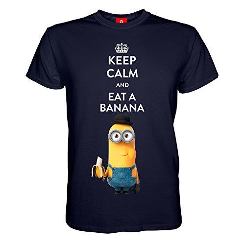 King of Merch - Herren T-Shirt - Minions Keep Calm and Eat A Banana Kevin & Phil Agnes Einhorn Unicorn Scarlet Overkill Herb Bob Stuart Gru Flux Margo Edith Vector Einauge Minion Blau M
