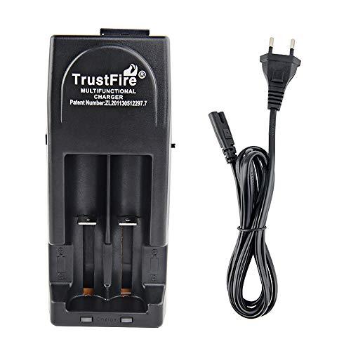 TrustFire TR-001 Akku Ladegerät AC/DC Batterieladegerät mit 2 X Ladeschächte - 3V und 4,2V für wiederaufladbare Akkus Li-Ion IMR LiFePO4 10430 10440 17670 18500 18350 18650 14500 16340 - Schwarz - Cr2 Lithium-batterie-ladegerät