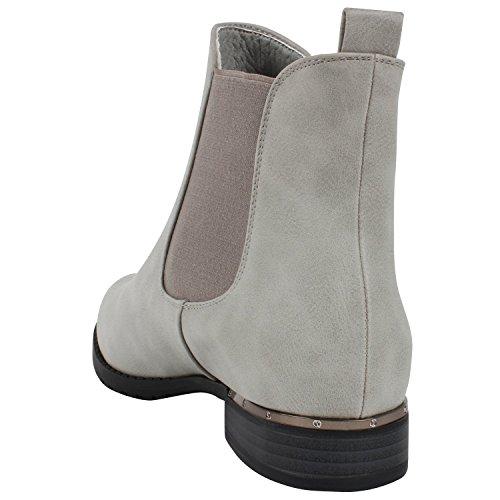 Damen Chelsea Boots | Freizeit Stiefeletten | Pflegeleichtes Obermaterial aus Kunstleder | Gr. 36-41 Hellgrau
