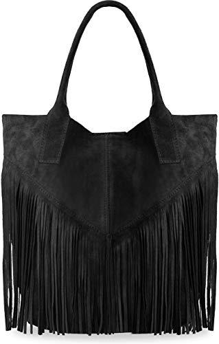 große Damentasche Wildleder Naturleder mit Fransen Boho-Style Beuteltasche viele Farben (schwarz) - Wildleder Fransen Tasche