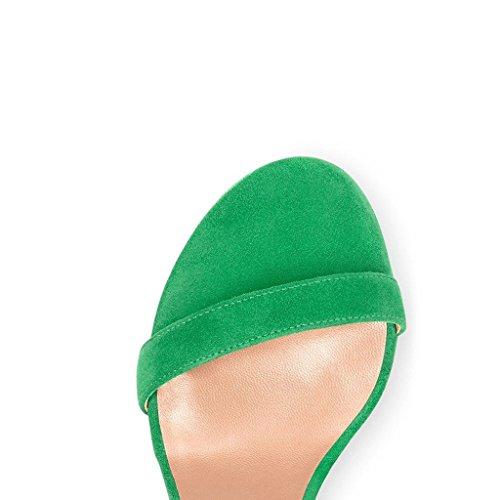 EDEFS Sandali a Punta Aperta Donna,Scarpe Cinturino Caviglia Tacco a Blocco Verde