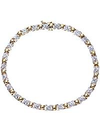 Naava - Bracelet - Femme - Or blanc (9 carats) 7.8 Gr - Diamant 0.25 Cts