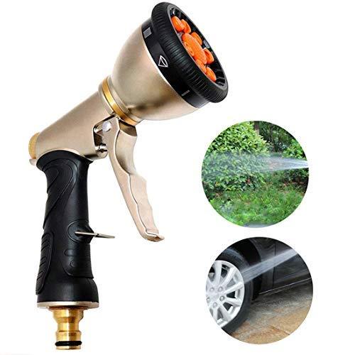 Nclon Garten Handbrause, Metall Messing Hochdruck Gartenbrause 9 Funktionen Verstellbarer Wasserdurchfluss für Rasen und Garten Bewässerung Autowaschanlagen Haustiere Duschen-A