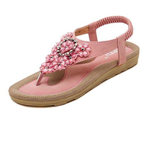 VJGOAL Damen Sandalen, Frauen Mädchen Böhmischen Mode Flache beiläufige Sandalen Strand Sommer Flache Schuhe Frau Geschenk (37 EU, T-Pink)