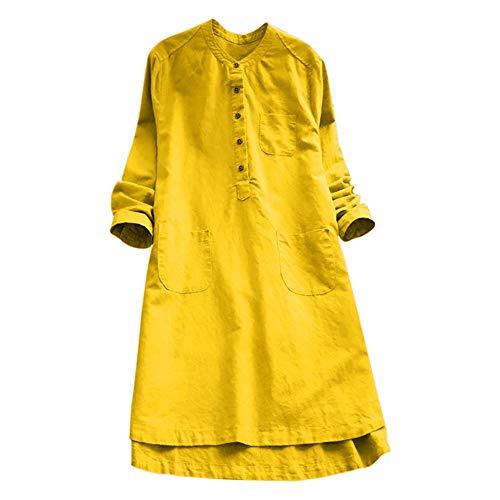VJGOAL Damen Kleid, Damen Lässige Retro-Baumwolle und Leinen Knopf Lange Tops Bluse Lose Lange Ärmel Mini Hemd Kleid ... (48, Gelb)