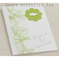 10 X Einladung Einladungskarte Kommunion Einladungen Hellgrün KK018