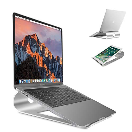 "Laptopständer belüftet Stand aus Aluminium Schreibtisch Ständer Rutschfestem Silikon-Polster Alulegierung Cooling für Apple Macbook, iPad, Asus, Acer alle 15"" Notebooks(Kabelmanagement,Wärmeableitung)"
