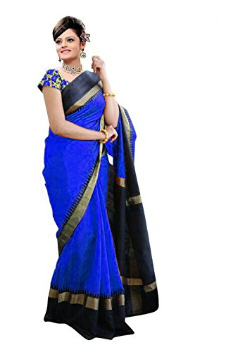 Saree (Patankar Fab Blue Cotton Silk Plain Bhagalpuri Type Casual wearing With Blouse Women\'s Saree)