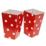 #6: Magideal 12x POPCORN Snake Box/Bucket Dot Paper Movie Treat Party FOOD/LOOT Bags Red