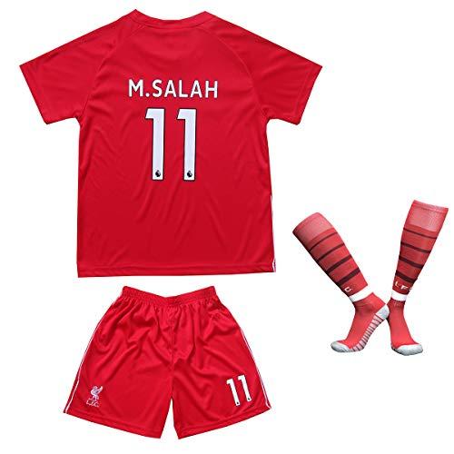 Liverpool Salah Trikot Set #11 Heim 2018/19 Kinder Fussball Trikot Mit Shorts und Socken Kinder (7-8 Jahre) -