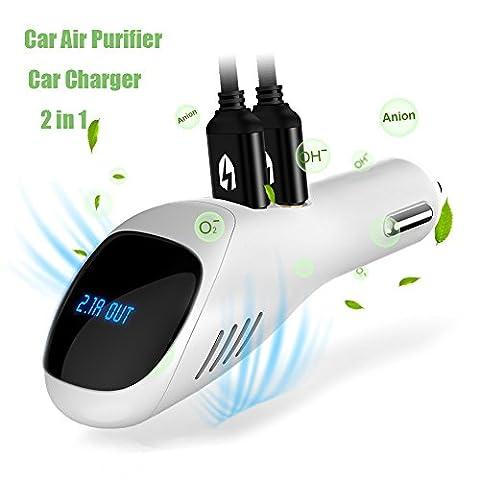 Auto Luftreiniger, JoysuolEU Ionic Luftreiniger Purifier Erfrischungsmittel Ionizer mit 2 Smart USB Port Smart Car Charger - Entfernt Rauch, Bad Geruch und Gerüche Eliminator