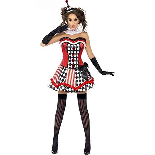 sche und amerikanische Damen Halloween Kostüm Zirkus Bühnenauftritt weibliche Clown Kostüm Spiel Uniform Rollenspiel (Color : Red, Size : Einheitsgröße) ()