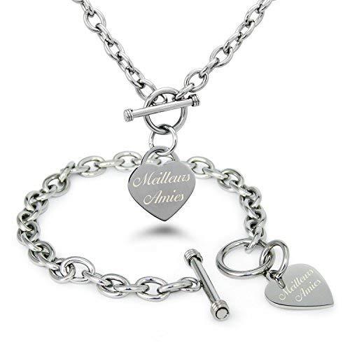 Tioneer Edelstahl Freunde (auf Französisch) mit Gravur Herz Charme Armband und Halskette Set (Tiffany-armband-set)