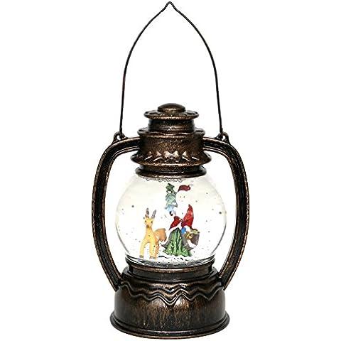 Precioso LED Farol con Papá Noel/muñeco de nieve y brillos, aprox. 20cm