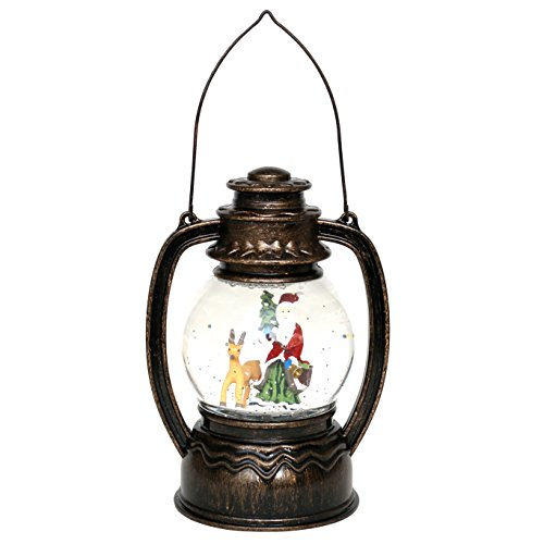 Lanterna led con babbo natale/pupazzo di neve/sacra famiglia e glitter vortice, ca. 20cm babbo natale