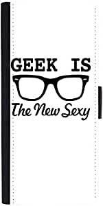 Snoogg Geek Is The New Sexy Graphic Snap On Hard Back Leather + Pc Flip Cover...