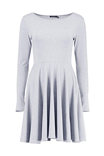 Femmes gris Jade Long Sleeve Skater Dress Gris
