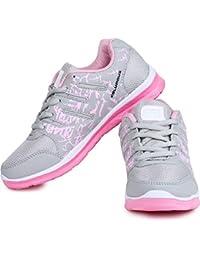 Columbus Sport Shoes for Women (Ultra Lightweight Sole) (Gray & Pink-Green & Green)