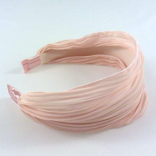 rougecaramel - Serre tête/headband/ large plissé façon bandeau - pêche