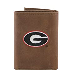 NCAA Georgia Bulldogs Zep-Pro Crazyhorse Leather Trifold Embroidered Wallet, Light Brown