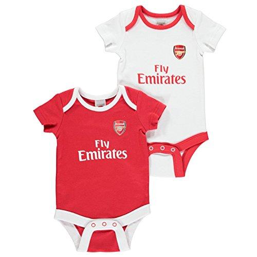 Team Kinder Baby Body 2 Pack Fussball Fan Kurzarm Baumwolle Home Und Away Design Arsenal 6-9 Mnth -