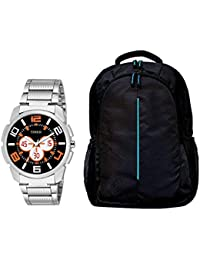 TIMER Combo of Stylsih Silver Color Dial Watch with Black Waterproof Bag for Men & Boy's