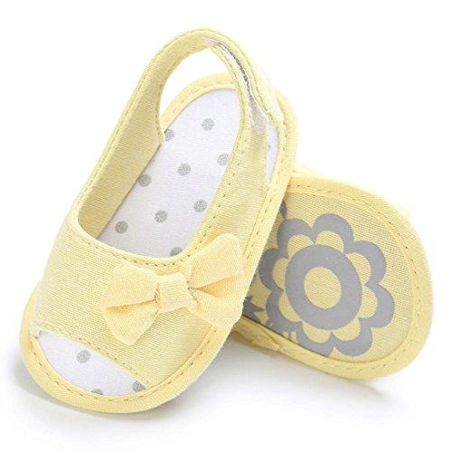 Igemy 1 Paar Neugeboren Mädchen Kleinkind Baby Soft Sole Bowknot Krippe Prewalker Schuhe Gelb
