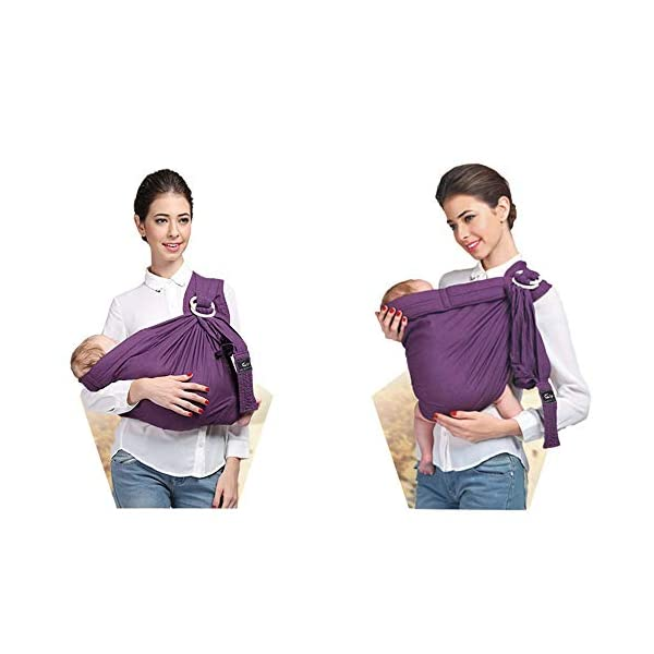 Kangaroobaby Baby Sling Wrap Carrier One Size Fits All Adjustable for Newborn to 33 Lbs Purple Color CUBY Important tips:this product is desiged as comfortable and breathable sling for newborn baby,so the material is thinner but don't worry,it is strong enough to the baby up to 33 lbs. we suggest:fit for 0-32 months and below 33 lbs baby,but more comfort to below 20 lbs baby. Babywearing benefits - This sling allows you to carry your newborn in the same position they have assumed in the womb, making it easy for eye contact to bond with your new loved one. The rockin soft, snug feeling of the sling and the sounds of mom's heartbeat and voice helps calm the baby. Research shows that babies who are carried in a sling cry less, sleep more peacefully, nurse better and gain weight better, enjoy better digestion and even helps for colic and reflux babies. 100% pure cotton lends breath-ability and skin-friendly,keeps it lighter.Machine washable. Follow our clear instructions (as show as in the picture ), and you'll be wrapped up in under a minute! Perfect fit for preemies, Versatile one size fits all carriers and slings that are quick, easy and simple to adjust using the ring in order to carry your child easy and safely. Our new sling can be used by mom or dad and is suitable for a boy or a girl. The perfect baby shower gifts for boys or girls. 2