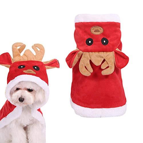 Aolvo Hunde-Kostüm, roter Hund mit Kapuze, Weihnachtsskleidung, Mantel -
