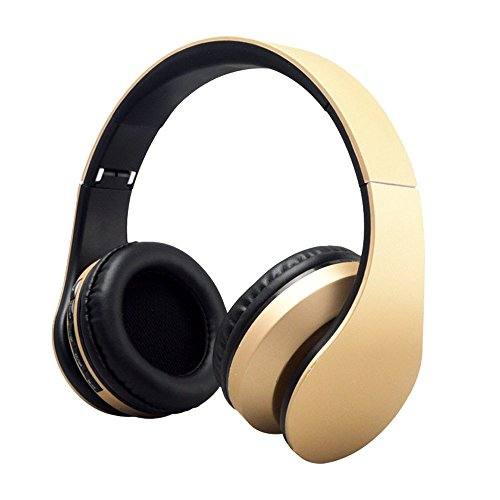 Cuitan Multifunction Universal Wireless Bluetooth V3.0 / Wired 3.5mm Plug Headband Headphones Over-Ear Stereo Built-in Microphone FM Radio Earphone Headset for iPhone 6s, 6, 5s, 4s, iPad, iPod, Samsung Galaxy and other Bluetooth Devices Smart Phones with Audio Cable and Charging Cable - Gold