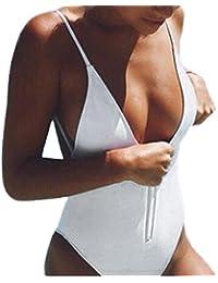 Bañadores Deportivas Mujer, Xinan Bikini de Una Pieza de Monokini Zipper Mono Traje de Baño