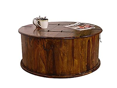 Maharajah Indian Rosewood Round Trunk Coffee Table