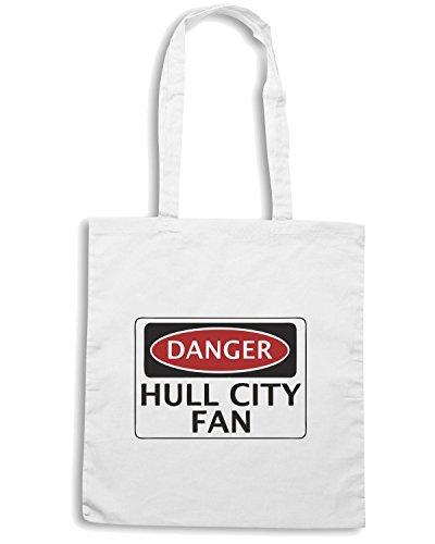 T-Shirtshock - Borsa Shopping WC0293 DANGER HULL CITY FAN, FOOTBALL FUNNY FAKE SAFETY SIGN Bianco