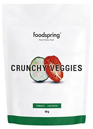 foodspring Crunchy Veggies, Tomates y calabacines, 60g, Chips para deportistas