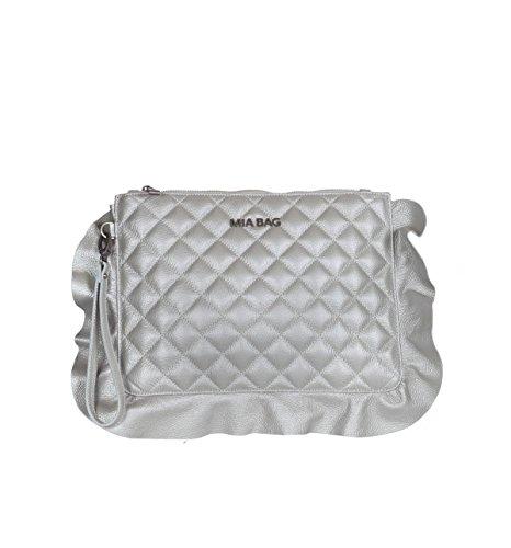 Mia Bag Borsa 18134 997 Pochette Leather Trapuntata con Rouches Argento ss18 Uni