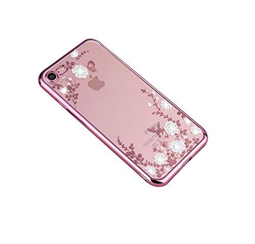Minto Diamant TPU Blumen Hülle iPhone 6 6s Transparent Silikon Schutzhülle Handyhülle Case Cover Etui Tasche - Rosegold mit Pink Blumen Rosegold mit weiß Blumen -i7