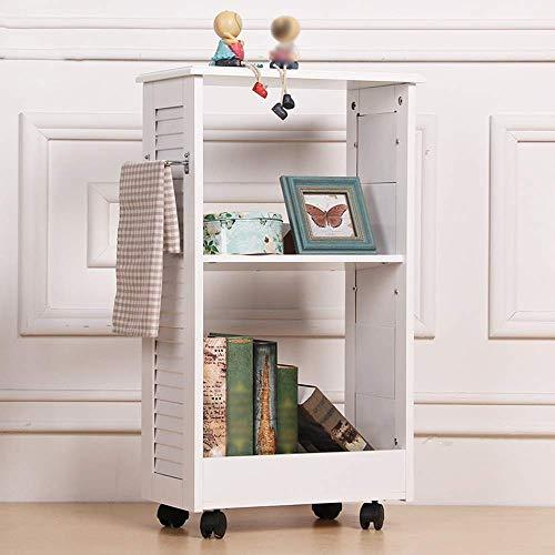 YANG Home Schlafzimmer Bücherregal Bücherregale 2 Tiers Lagerregal auf Rädern, Schreibtischseite Druckerregal, Beistelltisch Beistelltisch, Studentenschlafzimmer Bett Bücherregal -