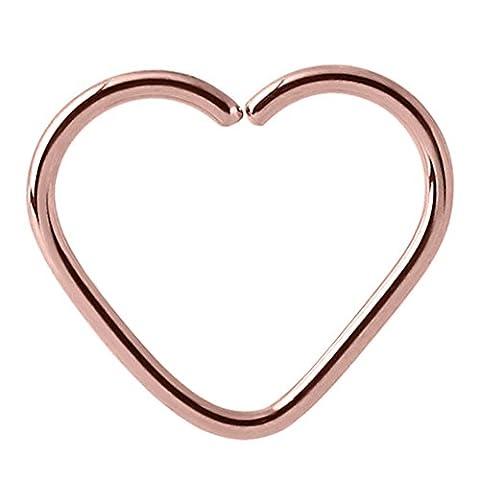 Rose Gold Herz Stahl Ring für Helix/Daith/Rim Piercing. 1,0mm gauge. 10mm Innendurchmesser.