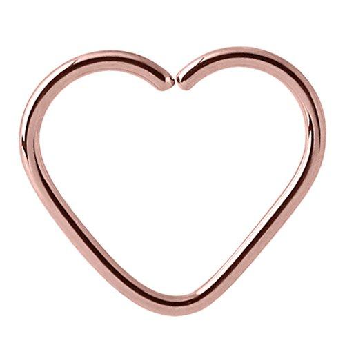 Rose Gold Chirurgenstahl kontinuierliche Herz Ring. Hoop. Tragus Helix Daith Rim oberen Ohr Piercing. Größe 1,0 mm Spurweite, 10 mm Innendurchmesser. TDi Schmuck Dimensionierung Card enthalten.