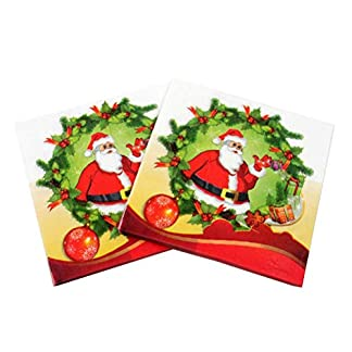EMILF Home Servilletas de Navidad de 100 Piezas de Papel con patrón de Papá Noel Decoraciones de Mesa de Navidad